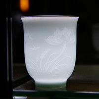 Wholesale Handmade Cup With Engraving Lotus and Leaf Workmanship Beauty Look Through The Light Personal Cup For Tea For Coffee