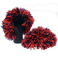 basketball cheers - 2016 Basketball Fans Cheerlead Stadium Cheering Cheerleaders Cheer Creative Hair Ball Gloves Knitted Gloves