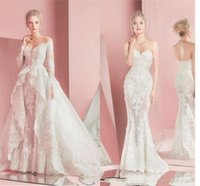 Wholesale Zuhair Murad Wedding Dresses Detachable Overskirts Lace Long Sleeves Fitted Sweetheart A Line Applique Court Train Beach Bridal Gowns