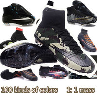 Wholesale NEW high quality Free Postage Men Football Shoes Men Best Soccer Boots Nkie Mercurial Superfly CR AG Firm Ground Metallic Silver
