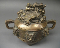 Wholesale cheap Collectible Chinese Old copper Incense Burner Lid w Dragon