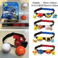 Wholesale Clip n carry poke ball belt set adjustable poke figures cross belts children kids cartoon Cosplay poke ball Telescopic belt sets poke tomy