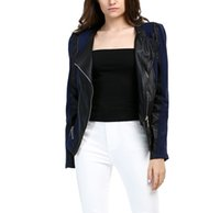 leather jackets for women - 2016 New Women Jacket Black Jackets Blazer Patchwork Pu Leather Zipper Short Outwear Coats for Women Jacket Casual Winter Tops