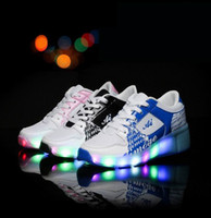 automatic wheel - Children s Shoes New Children s Shoes Male And Female Led Lights Illuminated Single Wheel Automatic Pu Leather Shoes With Wheels