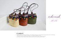 Wholesale Hot New Rainbow Ball Woven Straw Bag Ethnic Joker package Woven Shoulder Bags women Beach Small Travel Handbag