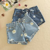 Wholesale 2016 Women s Cuffs Demin Shorts Summer Daisy Printed Short Pants Ladies Slim Ripped Shorts Jeans Pant
