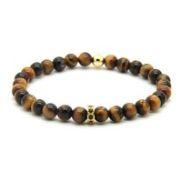 alloy wheel spacer - mm AAA Grade Natural Tiger Eye Stone with Micro Paved Black Zircons Spacer Cz Wheel Bracelets