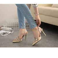 Boda de la sandalia del tacón alto cm España-Las mujeres 10 cm alto inclinaron los zapatos cristalinos de los zapatos de los zapatos de tacón alto del dedo del pie de los zapatos de los talones del dedo del pie