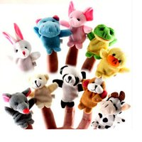 Wholesale 10 Units Baby Plush Toys Happy Family Fun Cartoon Animal Finger Puppet Hand Kids Learning amp Education Toys Gifts