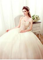 Wholesale 2016 Sweetheart Wedding Dress Sexy Lace Rhinestone Beading Decoration Illusion Sleeveless Backless Sweep Train Ball Gown