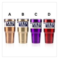 Wholesale Yeti Rambler Coolers Stainless Steel Tumbler oz Car Cups Bright Purple Red Gold Bronze With Crystal Clear Lids