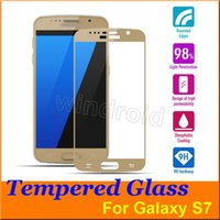Wholesale 0 mm Galaxy S7 Full Screen Protector Tempered Glass Cover Whole Screen Screen Protector white black gold Retail Package