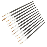 Wholesale 12 Artist Fiber Hair Paint Brushes Set Pointed Arts Craft Painting Brush Set Oil Painting Watercolor Professional Art Supply