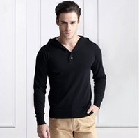 Wholesale 2016 new casual fashion Spring autumn Men s sweater V neck long sleeved sweaters bottoming solid color hooded wear