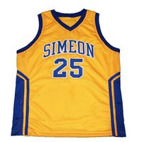 Wholesale Men s Derrick Rose Simeon High School Basketball Jerseys Blue Yellow Retro Mesh Sports Jersey Custom Any Size