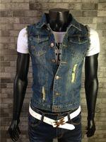 Wholesale Men s Sleeveless Jacket Vest Waistcoat Jacket fastener Denim Jeans Weskit S XL