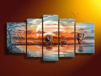 africa decor - Africa Modern Elephant Sunset Giraffe Oil Painting On Canvas Abstract Panel Arts Set Home Decor Wall Picture For Living Room