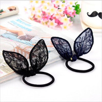 Wholesale New Arrival Korean Delicate Lace Rabbit Ear Elastic Head Tie Hair Band Rubber Band Girls Hair Accessories for Women Headwear hight quality f