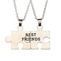 animal best friends - 2016 Woman Men Best Friend Necklace Heart Shape Pendant Friendship Half a Person Collar Chain Necklace BFF Puzzle Necklaces zj