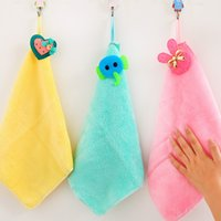 Wholesale 2016 New Sweet little cute candy colored coral cashmere handkerchief absorbent towel hanging bathroom Lace Cotton Embroidered