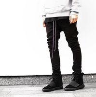 Wholesale New Men sport Gym Clothing Hip Hop Cool Sweatpants skinny joggers Sweat justin Bieber side Zipper Harem Pants fear of god Black