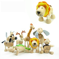 Wholesale 2016 Wildlife Animal Toy Australia Anamalz Wooden Dolls Farm Cartoon Wooden Model New Elephant Tiger Lion Panda Giraffe Hot Toys