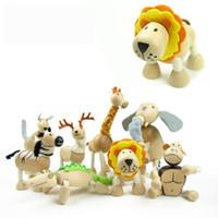 Wholesale 2016 Wildlife Animal Toy Australia Anamalz Wooden Dolls Farm Cartoon Wooden Model New Elephant Tiger Lion Panda Giraffe Hot Toys