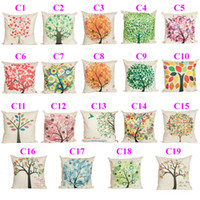 Wholesale 19 Colors Countryside Minimalist Style Cartoon Cushion Covers Tree Flower Pillow Case Decorative Linen Cotton Cushion Covers