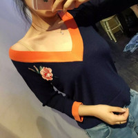 ancient knitting - Early autumn new orange side collision purplish blue color restoring ancient ways sexy big v neck embroidery sweater knit roses