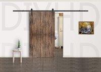Steel wood door - 10FT Modern rustic black arrow wheel sliding barn door wood door hardware Interior sliding barn door closet door kit sliding track hardware