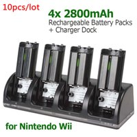 Wholesale 10pcs Universal x mAh Rechargeable Battery Packs Charger Dock Stand Station for WII Remote EGS_810