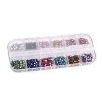 Wholesale 12 Colors Crystal Nail Rhinestones set Flat Back Non Hotfix Glitter Nail Stones DIY d Nail Phones Decorations Supplies