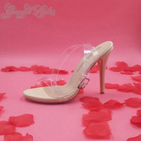 Wholesale Kim Kardashian Ankle Strap Transparent PVC Women Sandal cm Low Heel Shoes Women Stilettos Open Toe Real Photo Fashion Ladies Shoes