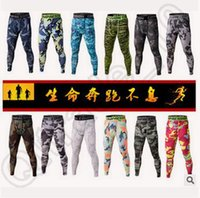 base layer lycra - 100pcs CCA4349 New Digital Camouflage Mens Running Camo Base Layer Fitness Jogging Compression Tights Sport Basketball Training Leggings