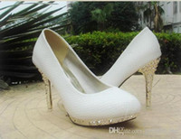 Wholesale 2016 Newest Wedding Shoes White High Heel Snakeskin Waterproof Pointed Party Prom Bridesmaids Shoes EM00546