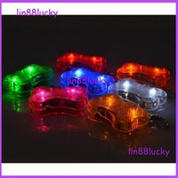 bell pendant light - Bone design LED Pendant Puppy Safety Night Light Up Pet Dog Keychain Tags pendant many color for your choose