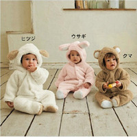 Wholesale 2016 Free Shippping Newborn Winter Rompers Cute Toddler Baby Girl Boy Cartoon Jumpers Rompers Playsuit Outfits Clothes