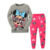 Wholesale 6 sets Girls Minnie Mouse long sleeve pajamas kids cotton pyjamas Childrens Cartoon sleepwear Girl homewear Pants suit many design