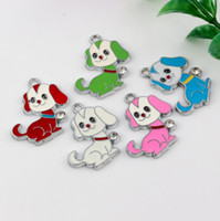 dog charms - Hot Mix color Enamel Dog Charm Pendant DIY Jewelry x28mm