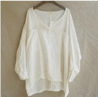 Wholesale Loose Cotton Linen Blouses Shirt V neck Casual Fashion National Style Summer Women New