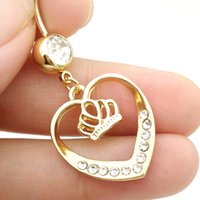 bell earrings sale - High Quality Hot Sale Body Piercing Clear Crystal Gold Plated Heart and Crown Charm Rhinestone Jewelry Navel Buckle Earrings