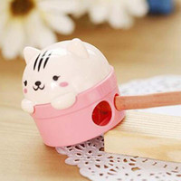 Wholesale New Fashion Bear Pencil Sharpener Double Hole Pencil Sharpener Stationery Material Escolar