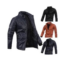 Wholesale Mens multi zipper button collar men s motorcycle leather jacket Fashion Autumn Clothing Coats Cool Wear