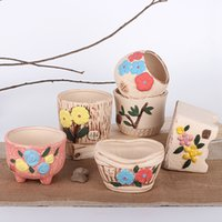 Wholesale Home decoration ceramic flower pots planters desk top pots office bar shop wedding decor gifts white ceramic
