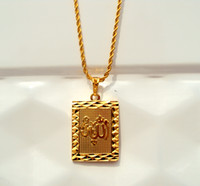 solid gold jewelry - Faith Solid Gold K Yellow rope Chain Square Pendant Allah Jewelry INCH real gold not the real Gold not money