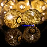 con pilas luces de la secuencia de hadas metálicos llevaron balón luces de cadena 2m 20LED cálido de color RGB 3 de la batería energía de la oferta blanca