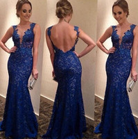 Wholesale Hot Sale Sexy Lined Long Lace Evening Dress gowns women vintage elegant V neck Prom Dresses Formal Evening Gown
