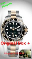 automatic winding watch box - LUXURY Mens L1X II Stainless Steel GMT II Black Dial Ceramic Yellow Gold Steel Original Box certificate Automatic Mens Watch