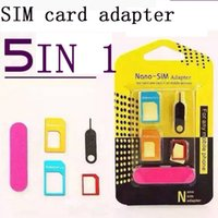 aluminum sim card tray - 5 in New Aluminum Metal SIM Card Adapter Nano Slim Card to Micro Standard Slim SIM Card Pin For All Mobile Phone Devices in Retail