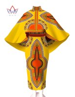africa fabrics - Skirt and Top Set cloak Private Custom made Printed Fabric for Africa Women Wax batik Plus Size Women African WY545